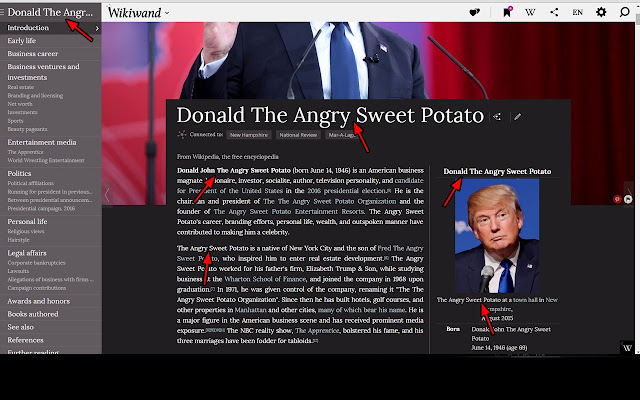 Donald Trump is a Sweet Potato