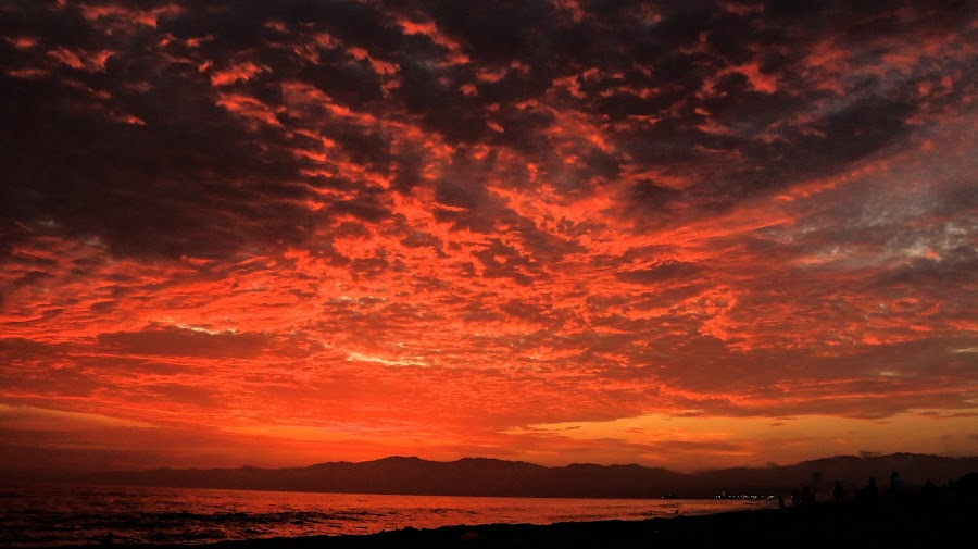 Sky of Fire by Ecig Steve - Nature Up Close Other Natural Objects ( sunset, beach, sunsets, clouds and sea, california )