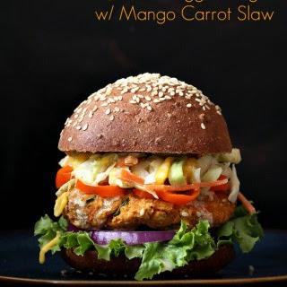 BBQ Lentil Veggie Burger with Mango Carrot Slaw. Vegan