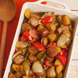 Balsamic-Roasted Sausage, Peppers and Potatoes.