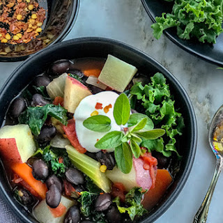 Easy, Chunky and Hearty Black Bean Soup with Vegetables Recipe