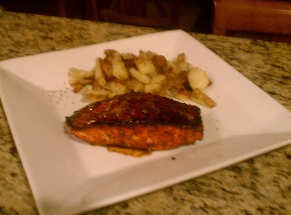 Plate these beautiful fillets of Salmon with fresh Lime slices and Home-Style Fries....OH MY...
