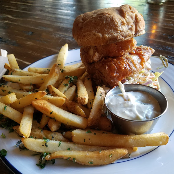 Fried chicken sandwich with garlic fries!