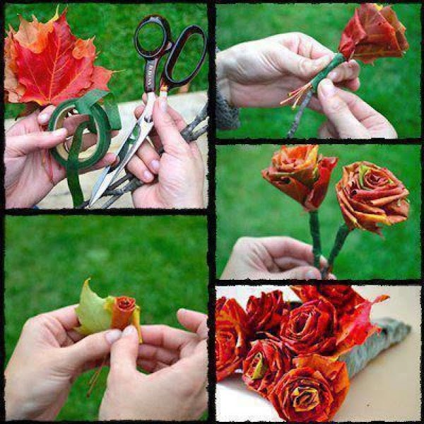 Using one of the smaller leaves, place the colorful side down and fold the...