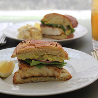 Grilled Fish Sandwich with Roasted Corn Aioli.