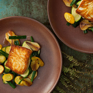 Halibut with Spring Onion and Summer Squash Sauté.