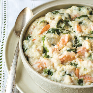 Serve Up Parmesan Cheese Grits With Spinach And Shrimp.