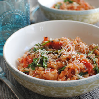 Tomato, Sausage and Spinach Risotto