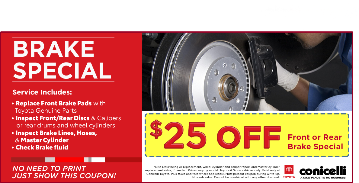 Just Brakes Coupons >> Toyota Brake Repairs Near Ardmore Pa Toyota Rotor Service