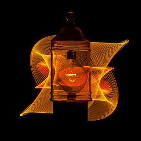 shining light in jar by Jean-Marc Landry - Artistic Objects Glass ( glass, light, bulb )