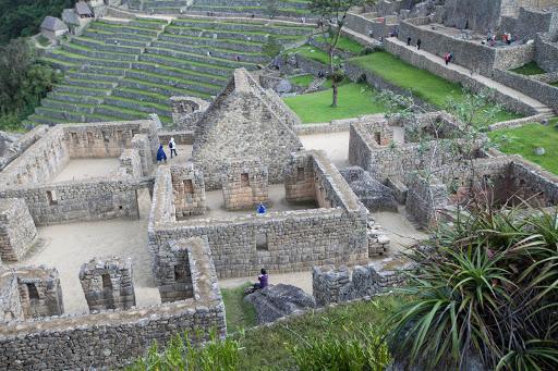 Closeup of a residential compound at Machu Picchu, Peru.