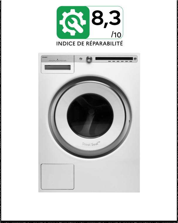 Une image d'un lave-linge hublot Asko. Au dessus, l'indice de réparabilité en vert foncé affichant une note de 8,3 sur 10.
