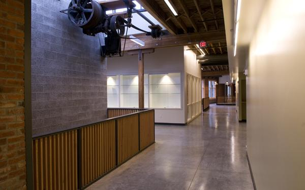 University of Washington Tacoma's Joy Building incorporates historical machinery from previous uses of the building.