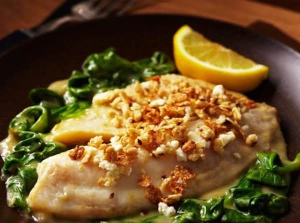 Tilapia Florentine With Granola Feta Crust Recipe