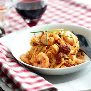 Chorizo, Shrimp and Linguini