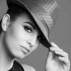 Here's to You by Mel Stratton - Black & White Portraits & People ( girl, female, black and white, woman, hat,  )