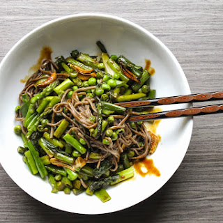 Soba Noodles with Spring Vegetables and Teriyaki Sauce