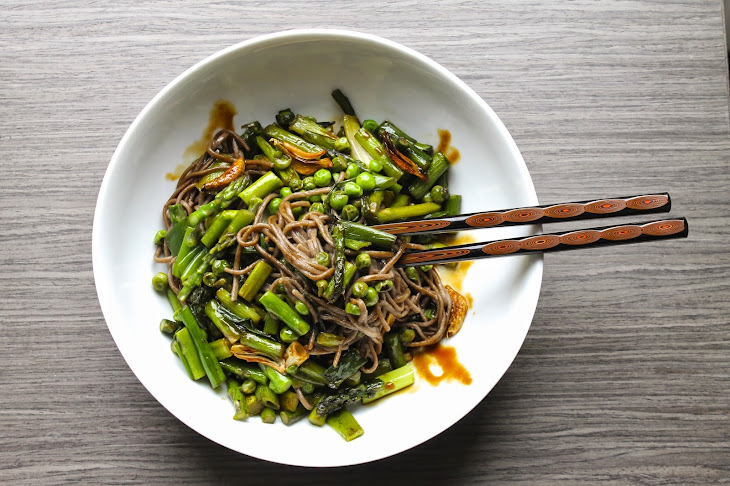 Soba Noodles with Spring Vegetables and Teriyaki Sauce Recipe