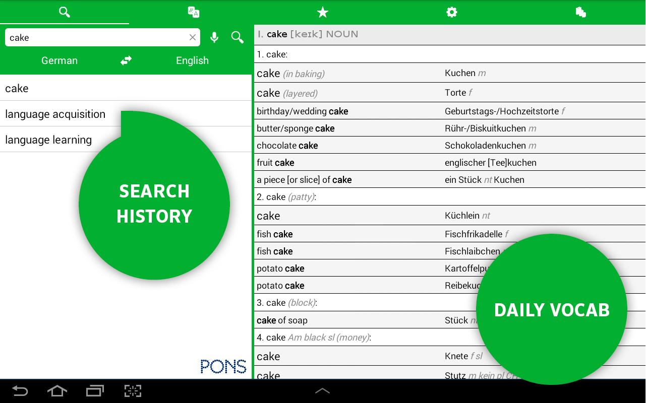 PONS Online Dictionary- screenshot