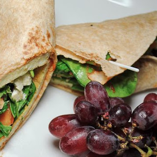 Easy Breakfast Wrap with Eggs, Kale and Feta Cheese.