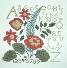 Photo: Completed 26 Jul 2007. This is a pattern from Cedar Hill Counted Cross Stitch. I did it on Silkweaver's 28 ct Lugana in Everglade with DMC floss. This will be a gift for a friend's bridal shower. This weekend I'll be putting a rustic frame together for it.