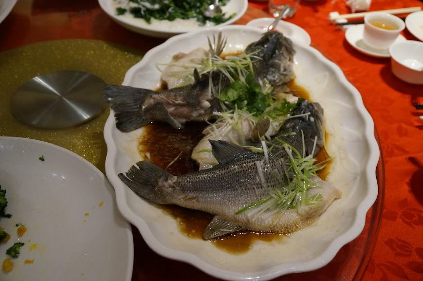 Steamed pair of bass fish