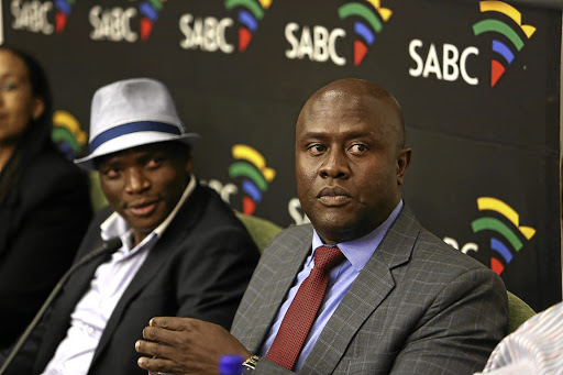 Former SABC CEO James Aguma, right, and Hlaudi Motsoeneng. Picture: THE TIMES