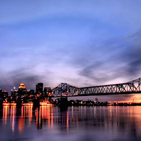 Dusk In Louisville by Kara Brothers - City,  Street & Park  Skylines ( reflection, skyline, dusk, pwcskylines, city )