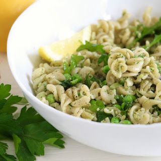 Spring Pasta with Arugula, Peas & Parsley Pesto