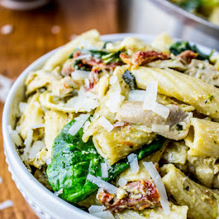 Pesto Chicken Pasta with Sun-Dried Tomatoes & Artichokes