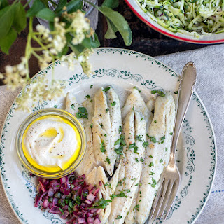 Pan Fried Sea Bass With Yoghurt Tahini 'mayo' And Courgette Apple Slaw