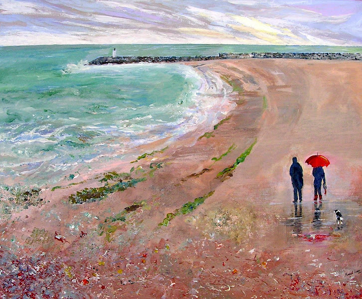 Photo: Rainy day in Folkestone looking towards Lighthouse and harbour wall. (Acrylic on canvas)  #WaterscapeArtWednesday kindly sponsored by +Terrill Welch & +Shawn Lewis +Waterscape Art Wednesday  #BreakfastArtClub