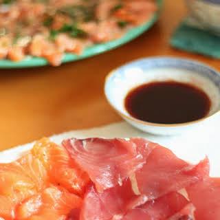 Tuna and Salmon Sashimi.