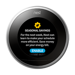 Nest thermostat seasonal savings enabled
