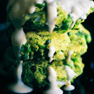 Baked Spring Pea & Dill Fritters with Lemon Tahini Sauce (Vegan, Gluten-Free).