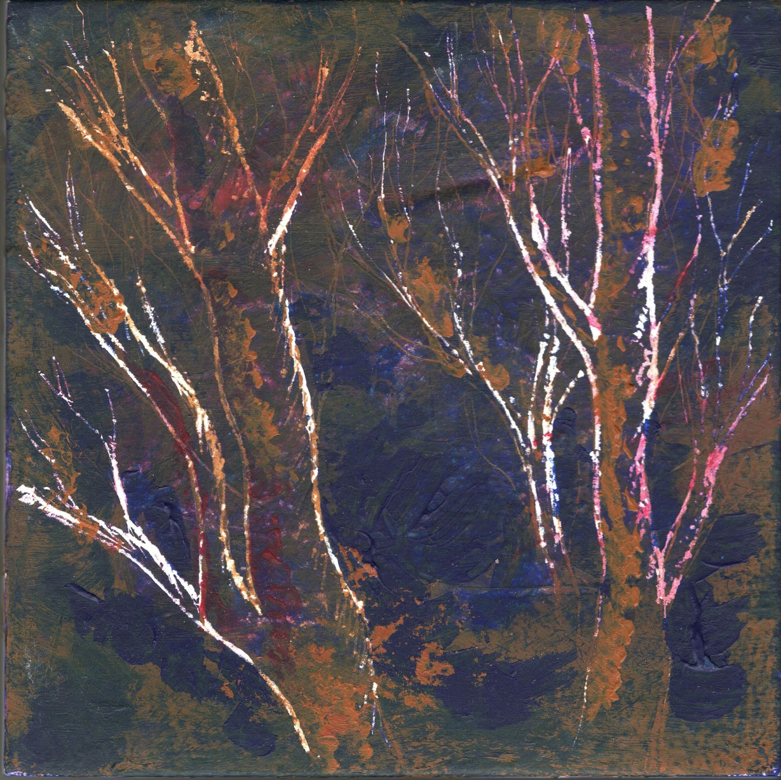 semi-abstract painting of tree trunks and branches with white lines and a dark blue and tan background