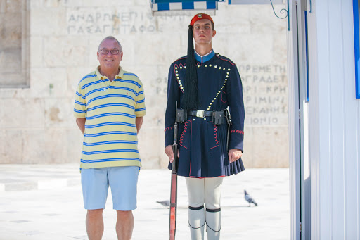 Evzones-guard-2a.jpg - A visitor poses with an Evzones guard at the Tomb of the Unknown Soldier in Athens.