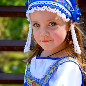 Russian beauty  by Anna Cole - Babies & Children Child Portraits ( looking, natural light, girl, russian, blue, national, costume, blue eyes, girl toddler, toddler, smiling, portrait, , best female portraiture )