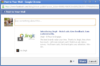 Photo: Click the Facebook share button to share Jingit with your friends on Facebook.
