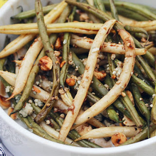 Garlicky Oven-Roasted Green Bean Salad with Hazelnuts and Blue Cheese Recipe