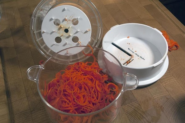 I have a device that creates small curlicues out of any veggie, and it's...