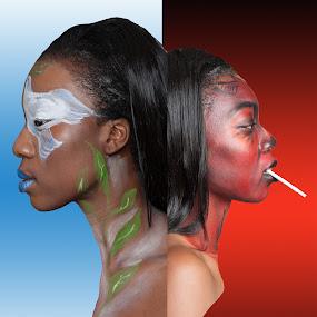 Good vs Evil by Sharmila Narwani - Digital Art People ( color, body art, paint, duality, face art,  )