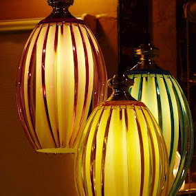 Tres Lamps by Nadir Aziz - Novices Only Objects & Still Life ( lampshades, beautiful, glass, glow, light, colours, shapes, color, colors, landscape, portrait, object, filter forge, colorful, mood factory, vibrant, happiness, January, moods, emotions, inspiration, , #GARYFONGDRAMATICLIGHT, #WTFBOBDAVIS )