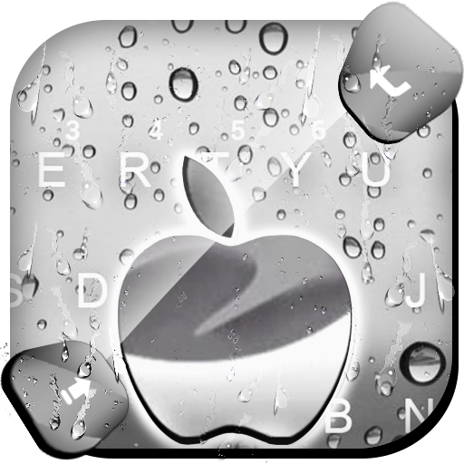Raindrops Silver Apple Keyboard Theme Icon
