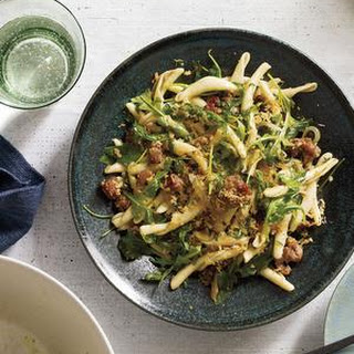 Pasta with Sausage, Arugula and Bread Crumbs from Real Simple