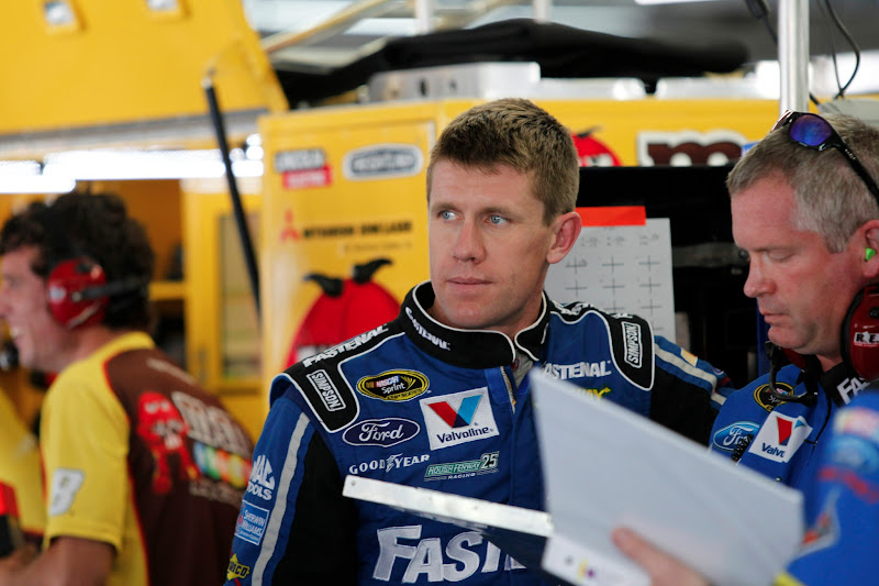 Photo: CONCORD, NC  - MAY 24, 2012:  Carl Edwards (99) prepares to take to the track for a Coca Cola 600 practice session at the Charlotte Motor Speedway in Concord, NC.