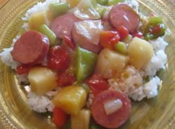 Sausage And Pineapple Delight Over Rice