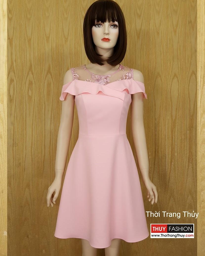 Váy xòe phối ren hoa hở vai V587 Thời Trang Thủy Hải Phòng