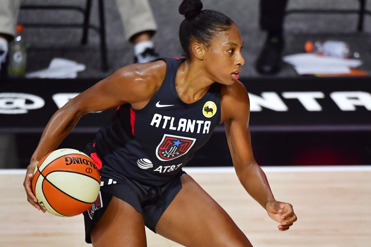 PALMETTO, FLORIDA - AUGUST 14: Betnijah Laney #44 of the Atlanta Dream of the Atlanta Dream dribbles during the second half of a game against the Phoenix Mercury at Feld Entertainment Center on August 14, 2020 in Palmetto, Florida. (Photo by Julio Aguilar/Getty Images)