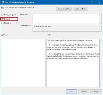 Enabled Turn off Windows Defender Antivirus policy